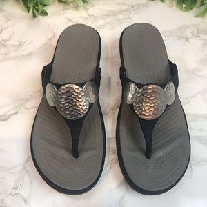 CROCS Dual Comfort Navy Slight Wedge Sandals